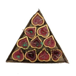 Decorated Diya Tray With Wax 6342