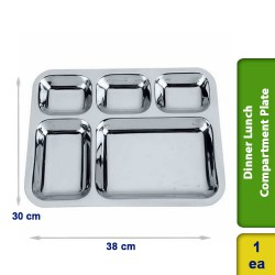 Dinner Lunch Compartment Plate 5 in 1 Stainless Steel Big 38cm