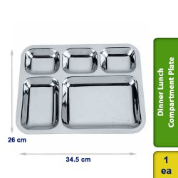 Dinner Lunch Compartment Plate 5 in 1 Stainless Steel Small 35cm