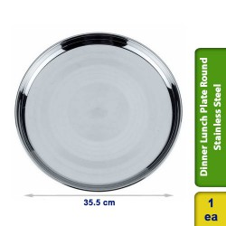 Dinner Lunch Plate Round Buffet Stainless Steel 35cm