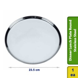 Dinner Lunch Plate Round Stainless Steel 23cm