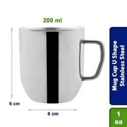 Double Walled Tea / Coffee Mug Cup U Shape Stainless Steel 200ml
