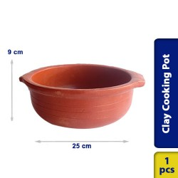 Earthen Clay Cooking Curry Pot Traditional Village Style 25 x 9 cm