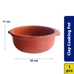 Earthen Clay Cooking Curry Pot Traditional Village Style 30 x 11 cm