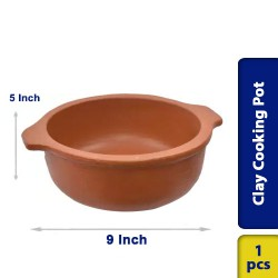 Earthen Clay Cooking Pot 9 Inch Traditional Village Style