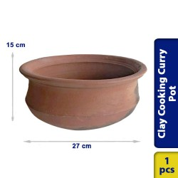 Earthen Cooking Clay Curry Pot Chatti Traditional Village Style 27 x 15 cm
