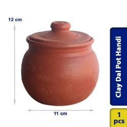 Earthen Clay Dal Pot Handi Flat Base 11 x 12 cm