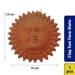 Earthen Clay Sun Face Statue Wall Decor Hanging Small