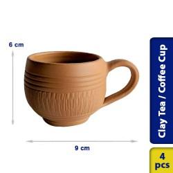 Earthen Clay Tea Coffee Cup Model 1 - 4 pcs
