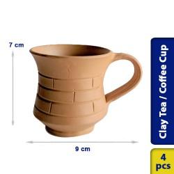 Earthen Clay Tea Coffee Cup Model 2 - 4 pcs