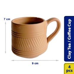 Earthen Clay Tea Coffee Cup Model 3 - 4 pcs