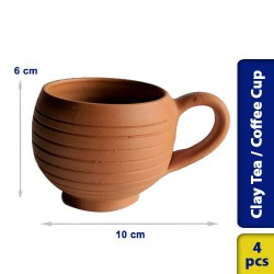 Earthen Clay Tea Coffee Cup Model 4 - 4 pcs