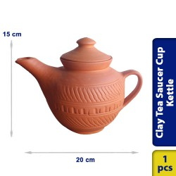 Earthen Clay Tea Saucer Cup Kettle with Lid
