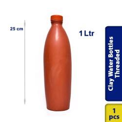 Earthen Clay Water Bottle Threaded Small 1 Ltr