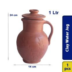 Earthen Clay Water Jug Pot Pitcher 1L - 14 x 24 cm