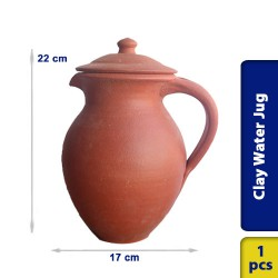Earthen Clay Water Jug Pot Pitcher 1L - 17 x 22 cm
