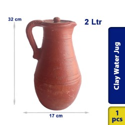 Earthen Clay Water Jug Pot Pitcher 2L