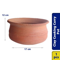 Earthen Cooking Clay Curry Pot Chatti Traditional Village Style 17 x 12 cm