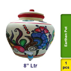 White Earthen Clay Water Pot 8 ltr