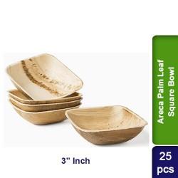 Food Lunch Bowl-Eco Friendly Bio Degradable Areca Palm Leaf-3 inch Square-25pcs