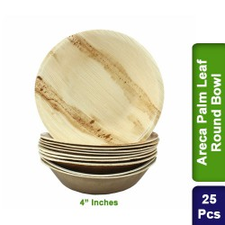 Food Lunch Bowl-Eco Friendly Bio Degradable Areca Palm Leaf-4 inch Round-25p