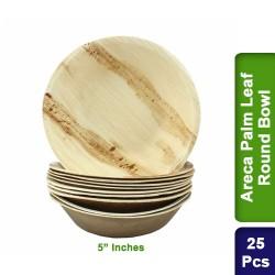 Food Lunch Bowl-Eco Friendly Bio Degradable Areca Palm Leaf-5 inch Round-25pcs