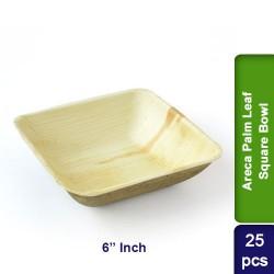 Food Lunch Bowl-Eco Friendly Bio Degradable Areca Palm Leaf-6 inch Square-25pcs