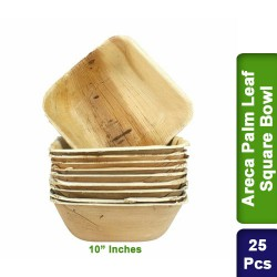 Food Lunch Bowl-Eco Friendly Bio Degradable Areca Palm Leaf-10 inch Square-25pcs