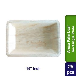 Food Lunch Dinner Plates-Eco Friendly Areca Palm Leaf-10 inch Rectangle CP-25pcs