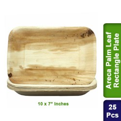 Food Lunch Dinner Plates-Eco Friendly Areca Palm Leaf-10x7 inch Rectangle-25pcs