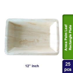 Food Lunch Dinner Plates-Eco Friendly Areca Palm Leaf-12 inch Rectangle CP-25pcs