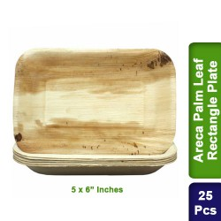 Food Lunch Dinner Plates-Eco Friendly Areca Palm Leaf-5 x 6 inch Rectangle-25pcs