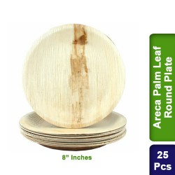 Food Lunch Dinner Plates-Eco Friendly Areca Palm Leaf-8 inch Round-25pcs