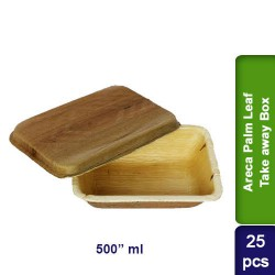 Food Lunch Take away box-Eco Friendly Bio Degradable Areca Palm Leaf-500ml-25pcs