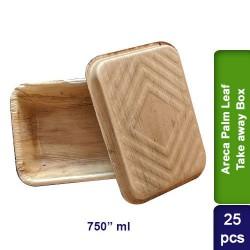 Food Lunch Take away box-Eco Friendly Bio Degradable Areca Palm Leaf-750ml-25pcs