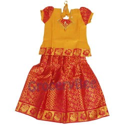 Girls Ethnic Wear Red Yellow