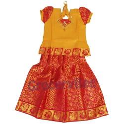 Girls Ethnic Wear Red Yellow