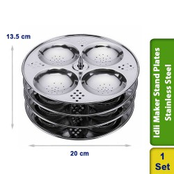 Idli Maker Cooker Steamer Stand with holes 4 Plates Stainless Steel