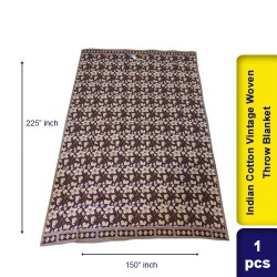 Indian Cotton Vintage Woven Throw Blanket 150 x 225 cm