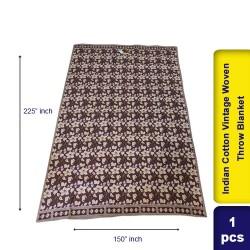 Indian Cotton Vintage Woven Throw Blanket 150 x 225 cm