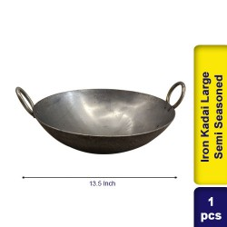 Iron Kadai Large Semi Seasoned 13.5 Inch