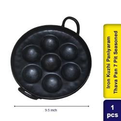 Iron Kuzhi Paniyaram Thava Pan 7 Pit Semi Seasoned