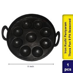 Iron Kuzhi Paniyaram Thava Pan 9 Pit Semi Seasoned
