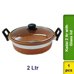 Kadai 2 ltr with Glass Lid Earthen Clay