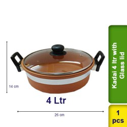 Kadai 4 ltr with Glass Lid Earthen Clay