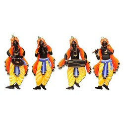 Krishna Musician Set Of 4, 16 X 08 Inch
