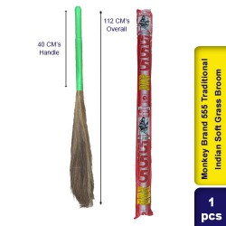 Monkey Brand 555 Traditional Indian Soft Grass Broom