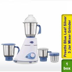 Preethi Blue Leaf Silver 600W 3 Jar Mixer Grinder