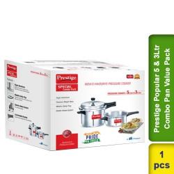 Prestige Popular 5Ltr Cooker & 3Ltr Combo Pan Value Pack