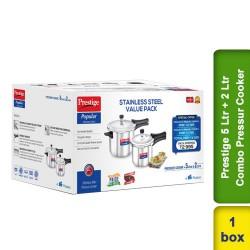 Prestige SS Popular 5 Ltr & 2 Ltr Combo Stainless Stell Value Pack Pressur Cooker